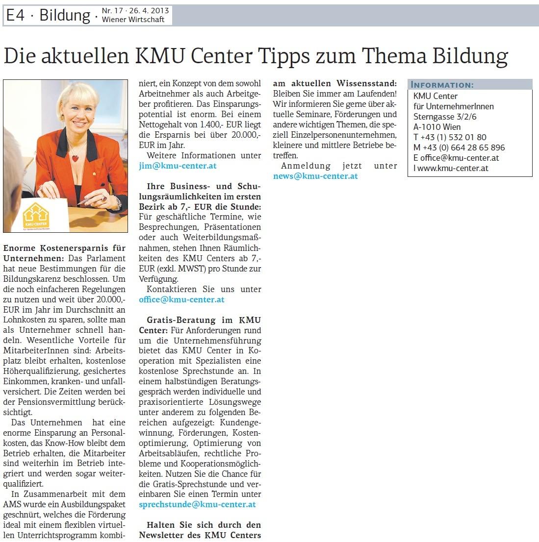 Wiener Wirtschaft 26.04.2013
