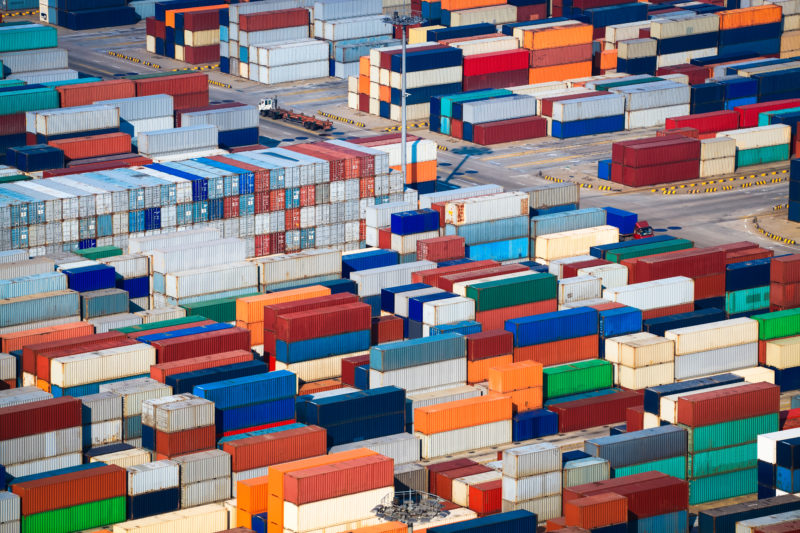 a lot of shipping containers