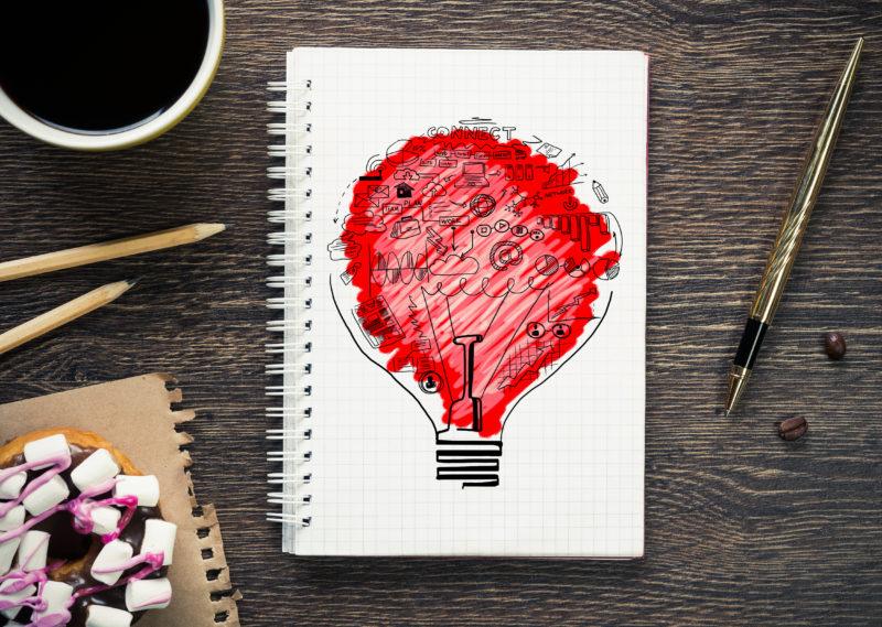 Brainstorming Red Bulb