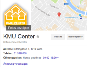 KMU Center Google My Business Eintrag